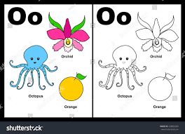 kids alphabet coloring book page outlined stock illustration