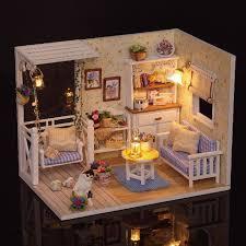 cuteroom 1 24 dollhouse miniature diy kit with led light cover