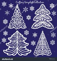 christmas cutting templates collection trees snowflakes stock