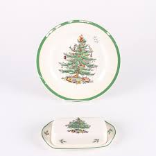 spode tree dinner plate and covered butter dish ebth