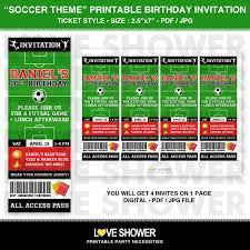 soccer printable birthday invitation ticket style digital