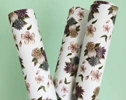 botanical wrapping paper succulent gift wrap etsy