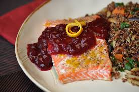 nourishing meals orange pepper salmon with cranberry sauce