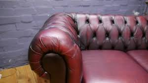 Red Leather Chesterfield Sofa by Three Seater Oxblood Red Leather Chesterfield Sofa Youtube