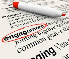 engagement word circled in a dictionary definition to illustrate