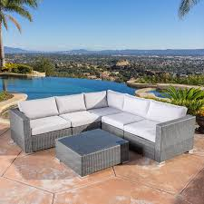 amazon com henderson outdoor 7 piece wicker seating sectional set