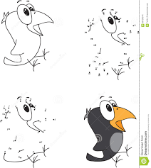 cartoon crow coloring book and dot to dot game for kids stock