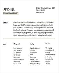 Restaurant Manager Resume Samples by Restaurant Manager Resume Template Restaurant Manager Sample 42