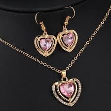 crystal love heart necklace images 3 kinds of design jewelry set austrian crystal love heart pendant jpg