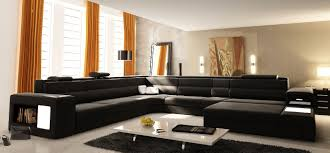 Rugs For Living Room by Furniture Black U Shaped Sectional Sofa With Modern Table And Rug