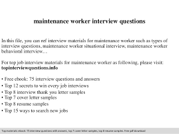 Maintenance Job Resume by Maintenance Worker Interview Questions