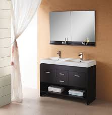 Bathroom Drawers Gray Wooden Vanity With Storage And Drawers Plus White Double Sink