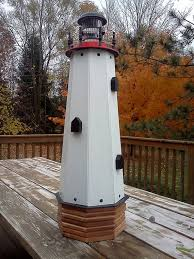 36 solar lighthouse wooden decorative lawn and garden ornament