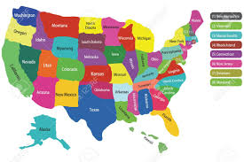 World Map With States by Usa Map With States And Colorful Background To Hightlight Each