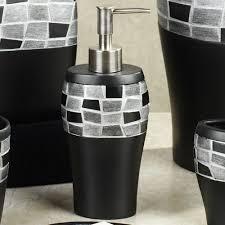 black mosaic stone resin bath accessories