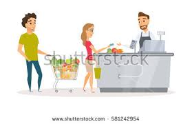 cashier apron buyer pays purchase cash stock vector 581242954