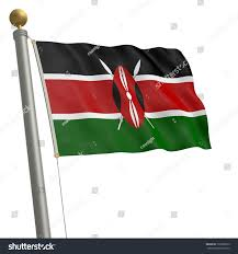 Flag Of Kenya Flag Kenya Fluttering On Flagpole Stock Illustration 139300919