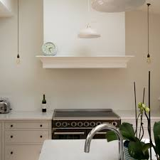 stunning shaker kitchen in london oak cabinets hanging pendants