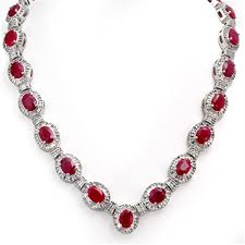 ruby diamonds necklace images Genuine 39 70 ctw ruby diamond necklace 14k gold jpg