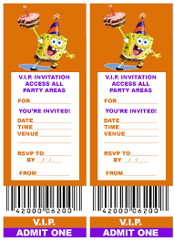 spongebob free printable v i p ticket style spongebob party