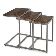 divano ottomano ikayaa tavolino laterale 3pcs metallo tavolini impilabili frame
