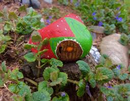 my painted rock stone strawberry cottage house for a fairy garden