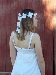 white hydrangea flower headband hippie wedding flower halo
