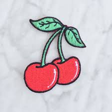 cherry cherries iron on patch patches embroidered applique