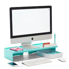 Office Desk Supplies Poppin Aqua Monitor Riser Modern Desk Accessories Cool Office