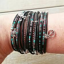 leather cuff wrap bracelet images Multi strand leather wrap bracelet black purple turquoise jpg