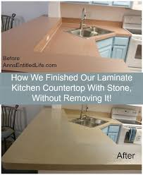 Diy Kitchen Countertops Refinished A Laminate Kitchen Countertop With Stone Without