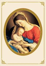 and baby jesus in gold oval religious card by