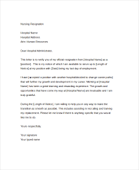 nursing resignation letter nursing job resignation letter sample