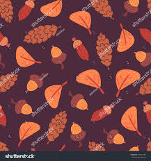 flat seamless pattern acorns cones orange stock vector 706991782