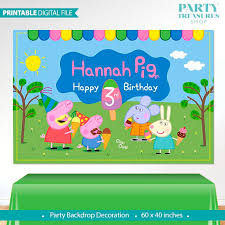peppa pig birthday peppa pig printable digital backdrop peppa pig birthday
