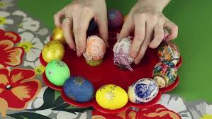 Decorating Easter Eggs With Lace by Decorating Easter Eggs With Fabric And Lace Stock Video Footage
