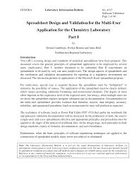 Multi User Spreadsheet Spreadsheet Design And Validation For The Multi User Application