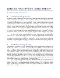 notes on power system voltage stability