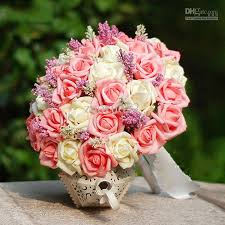 artificial flower bouquets artificial flower bridal bouquets pink milk white color with
