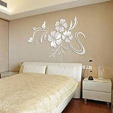 Wall Stickers For Bedrooms Interior Design Amazon Com Dh Llc 3d Shining Acrylic Mirror Wall Sticker