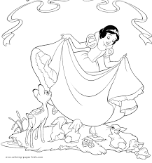 snow white dwarfs color disney coloring pages
