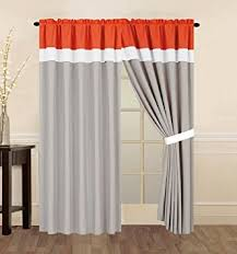 Coral Valance Curtains Amazon Com 4 Piece Coral Orange Grey And White Curtain Set With