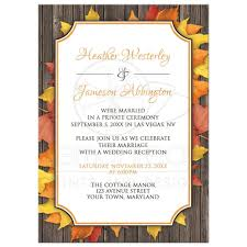 reception only invitations only invitations autumn orange white wood leaves