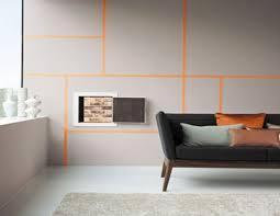 decoaddict fluor inspiration addict en couleurs peinture murale salon gris et ligne orange interiors