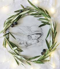 Home Interiors Nativity by Nativity Pencil Drawing With Olive Wreath Free Printable Plus 32