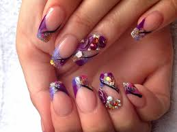 acrylic nails purple glitter and 3d roses youtube