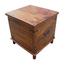 Square Accent Table Wood With Metal Storage Trunk Box Accent Table