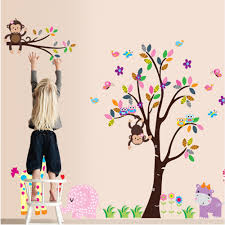 popular tree wall sticker buy cheap lots from free shipping hot selling pvc removable children room animal monkey trees wall sticker