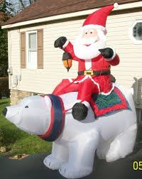 Large Christmas Lawn Decorations by Huge 8 Ft Gemmy Airblown Inflatable Santa Riding Polar Bear