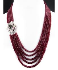 handmade beaded necklace designs images Buy online handmade designer 5 strand ruby cabochon beads necklace w jpg